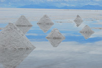 Uyuni salt flats and mounds of salt.